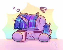 Size: 1508x1210 | Tagged: safe, artist:musicfirewind, twilight sparkle, pony, unicorn, bubble, coffee mug, eyes closed, female, mare, mug, solo, tired