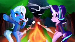 Size: 2560x1440 | Tagged: safe, artist:nicxchy, starlight glimmer, trixie, pony, unicorn, semi-anthro, campfire, camping, clothes, cloud, female, fire, food, forest, levitation, magic, mare, marshmallow, moon, night, open mouth, sitting, stars, stick, telekinesis, tent, tree