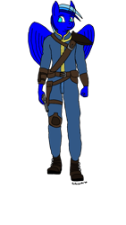 Size: 675x1200 | Tagged: safe, artist:echoarts, oc, oc only, oc:blueflame, pegasus, anthro, clothes, fallout, gun, male, pegasus oc, simple background, solo, transparent background, vault suit, weapon, wings