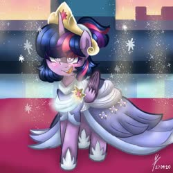 Size: 768x768 | Tagged: safe, artist:mappyprang22, twilight sparkle, alicorn, pony, the last problem, alternate hairstyle, blushing, clothes, coronation dress, crown, cute, dress, eye clipping through hair, female, happy, hoof shoes, jewelry, mare, open mouth, regalia, second coronation dress, solo, twiabetes, twilight sparkle (alicorn)