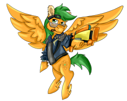 Size: 2500x2000 | Tagged: safe, artist:euspuche, oc, oc only, oc:atom smasher, pegasus, fallout equestria, fallout equestria: duck and cover, cigarette, clothes, fanfic art, looking at you, simple background, transparent background