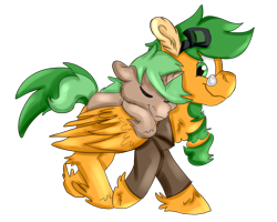 Size: 2500x2000 | Tagged: safe, artist:euspuche, oc, oc only, oc:atom smasher, pegasus, unicorn, fallout equestria, fallout equestria: duck and cover, clothes, colt, fanfic art, male, simple background, smiling, transparent background