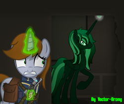 Size: 4854x4079 | Tagged: safe, artist:vector-brony, oc, oc only, oc:littlepip, alicorn, pony, unicorn, fallout equestria, alicorn oc, artificial alicorn, bag, clothes, fanfic, fanfic art, female, glowing horn, green alicorn (fo:e), gritted teeth, gun, handgun, hooves, horn, levitation, little macintosh, magic, mare, optical sight, pipbuck, pistol, raised hoof, revolver, saddle bag, scared, scope, telekinesis, vault suit, weapon, wings