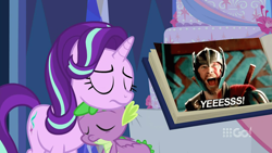 Size: 1280x720 | Tagged: safe, edit, edited screencap, hundreds of users filter this tag, screencap, spike, starlight glimmer, dragon, cakes for the memories, spoiler:cakes for the memories, spoiler:mlp friendship is forever, female, male, shipper on deck, shipping, sparlight, straight, thor, thor ragnarok, winged spike