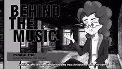 Size: 1920x1080   Tagged: safe, artist:zaid val'roa, pinkie pie, equestria girls, behind the music, monochrome, solo, subtitles, text