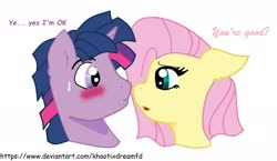 Size: 1980x1148 | Tagged: safe, artist:khaotixdreamfd, fluttershy, twilight sparkle, blushing, dialogue, dusk shine, duskshy, female, half r63 shipping, looking at each other, male, rule 63, shipping, straight, sweat, sweatdrop, twishy