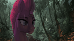 Size: 3840x2160 | Tagged: safe, artist:toisanemoif, tempest shadow, pony, unicorn, armor, broken horn, eyelashes, female, forest, horn, leaves, red mane, scar, solo, tree