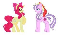 Size: 4872x2833 | Tagged: safe, artist:bublebee123, apple bloom, diamond tiara, earth pony, pony, alternate cutie mark, alternate hairstyle, alternate universe, apple bloom's bow, bow, diamondbloom, female, grin, hair bow, hat, lesbian, mare, older, older apple bloom, older diamond tiara, raised hoof, role reversal, shipping, simple background, smiling, smug, swapped cutie marks, white background