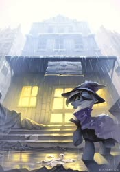 Size: 1600x2286   Tagged: safe, artist:ramiras, trixie, pony, unicorn, building, cape, clothes, cyrillic, digital art, ear fluff, fanfic, fanfic art, fanfic cover, female, floppy ears, hat, mare, rain, russian, solo, translated in the comments, trixie's cape, trixie's hat, wet