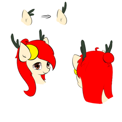 Size: 500x500 | Tagged: safe, artist:jerryenderby, oc, oc:kina hua, dracony, dragon, eastern dragon, hybrid, longma, pony, antlers, bust, china, doodle, dragon antlers, fangs, hair bun, looking at you, sketch