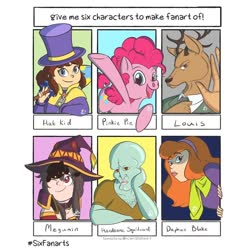 Size: 840x840 | Tagged: safe, artist:raecoon_art, pinkie pie, anthro, cat, earth pony, human, pony, six fanarts, a hat in time, anthro with ponies, antlers, beastars, bust, crossover, daphne blake, faic, female, handsome squidward, hat, hat kid, konosuba, louis (beastars), male, mare, megumin, open mouth, smiling, squidward tentacles, top hat, underhoof, waving