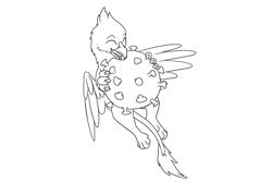 Size: 1851x1234 | Tagged: safe, artist:theandymac, oc, oc only, oc:der, griffon, biting, coronavirus, covid-19, male, micro, microscopic, solo, virus