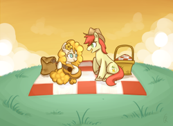 Size: 1100x800 | Tagged: safe, artist:xwreathofroses, bright mac, pear butter, earth pony, pony, the perfect pear, basket, brightbutter, female, flower, flower in hair, guitar, hat, male, musical instrument, picnic, picnic basket, picnic blanket, scene interpretation, shipping, straight, you're in my head like a catchy song