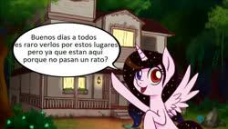 Size: 1320x750 | Tagged: safe, artist:zetamad, oc, oc:moonlight sonata, alicorn, pony, alicorn oc, heterochromia, horn, solo, spanish, wings