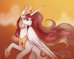 Size: 4000x3200 | Tagged: safe, artist:brendalobinha, oc, oc only, oc:queen celeste, alicorn, pony, crown, female, high res, jewelry, mare, not celestia, raised hoof, regalia, solo, wings