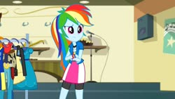Size: 1280x720 | Tagged: safe, screencap, rainbow dash, equestria girls, friendship games, clothes, compression shorts, female, skirt, solo, wristband
