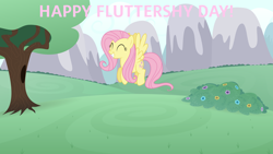 Size: 3840x2160 | Tagged: safe, artist:dashiesparkle, artist:zutheskunk edits, fluttershy, pegasus, pony, bush, eyes closed, female, flower, fluttershy day, flying, mare, mountain, smiling, spread wings, tree, vector, wings
