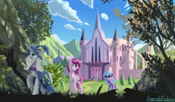 Size: 3600x2100 | Tagged: safe, artist:emeraldgalaxy, princess celestia, princess luna, star swirl the bearded, pony, castle, castle of the royal pony sisters, female, filly, pink-mane celestia, royal sisters, woona, younger