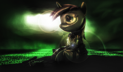Size: 1938x1151 | Tagged: safe, oc, oc only, oc:littlepip, pony, unicorn, fallout equestria, 3d, clothes, fanart, fanfic, fanfic art, female, foe, gun, handgun, hooves, horn, little macintosh, mare, my little pony, optical sight, pipbuck, post-apocalyptic, revolver, scope, sitting, solo, source filmmaker, vault suit, weapon