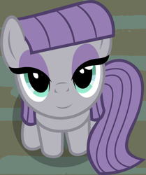 Size: 857x1024 | Tagged: safe, artist:badumsquish, derpibooru exclusive, edit, maud pie, earth pony, pony, badumsquish's kitties, cute, female, from above, looking at you, maudabetes, part of a set, sitting, smiling, solo, when she smiles