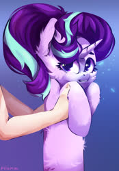 Size: 2500x3600 | Tagged: safe, artist:filama, starlight glimmer, human, pony, unicorn, disembodied arm, disembodied hand, fluffy, hand, holding a pony, long glimmer, long pony, longcat, offscreen character