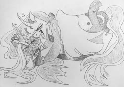 Size: 1080x766 | Tagged: safe, artist:charrbarz, princess luna, queen chrysalis, alicorn, changeling, changeling queen, pony, chrysaluna, curved horn, female, grayscale, horn, hug, laughing, lesbian, mare, monochrome, shipping, traditional art