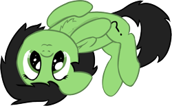 Size: 699x430 | Tagged: safe, artist:craftycirclepony, derpibooru exclusive, oc, oc only, oc:filly anon, earth pony, pony, :3, behaving like a cat, chest fluff, cute, female, filly, floppy ears, looking at you, lying down, on back, ponified animal photo, simple background, solo, starry eyes, transparent background, wingding eyes