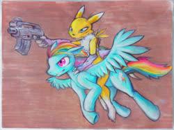 Size: 3200x2400   Tagged: safe, artist:darkdoomer, rainbow dash, anthro, pegasus, pony, renamon, digimon, duo, gun, painting, riding, traditional art, weapon