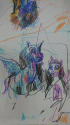 Size: 1152x2048 | Tagged: safe, artist:whoiszid, princess luna, twilight sparkle, alicorn, pony, crayon drawing, duo, female, looking up, mare, traditional art, twilight sparkle (alicorn)