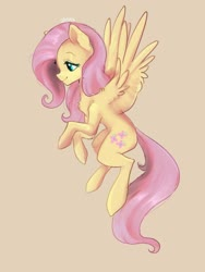 Size: 1536x2048 | Tagged: safe, artist:siripim111, fluttershy, pegasus, pony, chest fluff, cute, ear fluff, female, leg fluff, mare, profile, shyabetes, solo, spread wings, tan background, wings