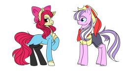 Size: 4872x2833 | Tagged: safe, alternate version, artist:bublebee123, apple bloom, diamond tiara, earth pony, pony, alternate hairstyle, alternate universe, apple bloom's bow, bandana, black socks, bow, clothes, diamondbloom, dress, female, grin, hair bow, hat, hoof polish, jewelry, lesbian, mare, necklace, older, older apple bloom, older diamond tiara, pearl necklace, raised hoof, role reversal, shipping, shirt, shorts, simple background, smiling, smug, socks, stockings, t-shirt, thigh highs, transparent background