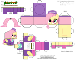Size: 2979x2354 | Tagged: safe, artist:grapefruitface1, fluttershy, pony, fake it 'til you make it, alternate hairstyle, arts and crafts, craft, cubeecraft, glasses, hat, hipstershy, papercraft, printable, solo
