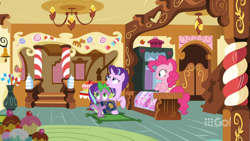 Size: 1600x900 | Tagged: safe, screencap, pinkie pie, spike, starlight glimmer, dragon, cakes for the memories, spoiler:cakes for the memories, spoiler:mlp friendship is forever, book, candy, candy cane, ceiling light, chandelier, crossed hooves, display case, door, food, indoors, looking up, rug, scrapbook, sugarcube corner, vase, watermark, winged spike