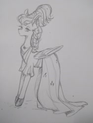 Size: 1560x2080 | Tagged: safe, artist:phattaraphorn_1, artist:tar, rainbow dash, pegasus, pony, sparkle's seven, alternate hairstyle, clothes, dress, megaradash, monochrome, sketch, solo, traditional art