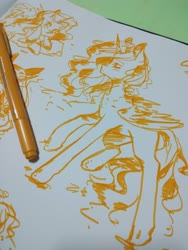Size: 1560x2080 | Tagged: safe, artist:phattaraphorn_1, artist:tar, princess celestia, alicorn, pony, irl, marker, marker drawing, monochrome, photo, sketch, solo, traditional art