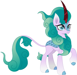 Size: 1500x1465 | Tagged: safe, artist:cloudyglow, mistmane, kirin, female, kirin-ified, raised hoof, simple background, solo, species swap, transparent background