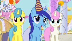 Size: 1920x1080 | Tagged: safe, screencap, lemon hearts, minuette, twinkleshine, pony, unicorn, amending fences, female, hat, mare, party hat, trio