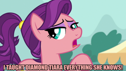 Size: 1280x720 | Tagged: safe, edit, edited screencap, editor:jaredking203, screencap, spoiled rich, earth pony, pony, where the apple lies, caption, eyeshadow, female, image macro, implied diamond tiara, makeup, mare, meme, solo, spoiled milk, text, younger