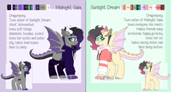 Size: 5000x2700   Tagged: safe, artist:liefsong, dracony, dragon, hybrid, pony, claws, clothes, ear piercing, earring, female, hoodie, jewelry, piercing, reference sheet, siblings, sisters, twins, wingding eyes