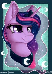 Size: 1600x2263 | Tagged: safe, artist:julunis14, twilight sparkle, alicorn, pony, accessory swap, alternate hairstyle, bust, constellation, crown, ear fluff, ethereal mane, female, flowing mane, implied princess luna, jewelry, mane swap, mare, peytral, portrait, regalia, smiling, solo, twilight sparkle (alicorn)