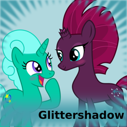 Size: 1024x1024 | Tagged: safe, artist:melisareb, fizzlepop berrytwist, glitter drops, tempest shadow, pony, unicorn, derpibooru, .svg available, blushing, female, glittershadow, lesbian, looking at each other, mare, meta, shipping, spoilered image joke, svg, vector
