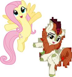 Size: 5566x5946   Tagged: safe, artist:jhayarr23, artist:ninjashadow-x, artist:xpesifeindx, autumn blaze, fluttershy, kirin, pegasus, pony, absurd resolution, duo, female, mare, simple background, transparent background, vector