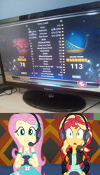 Size: 293x511 | Tagged: safe, edit, screencap, fluttershy, sunset shimmer, equestria girls, equestria girls series, game stream, spoiler:eqg series (season 2), basketball, controller, headset, nba, nba 2k14, shocked