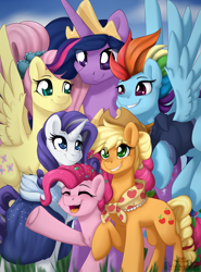 Size: 2000x2700 | Tagged: safe, artist:dreamy, artist:littledreamycat, applejack, fluttershy, pinkie pie, rainbow dash, rarity, twilight sparkle, alicorn, earth pony, pegasus, pony, unicorn, the last problem, chest fluff, cute, end of ponies, female, future, group, group picture, group shot, high res, mane six, mare, older, older applejack, older fluttershy, older mane six, older pinkie pie, older rainbow dash, older rarity, older twilight, poster, princess twilight 2.0, print, twilight sparkle (alicorn)