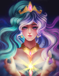 Size: 2480x3188 | Tagged: safe, artist:kgfantasy, princess celestia, human, bare shoulders, bust, crepuscular rays, crown, cutie mark, cutie mark accessory, ear piercing, earring, female, humanized, jewelry, piercing, regalia, solo