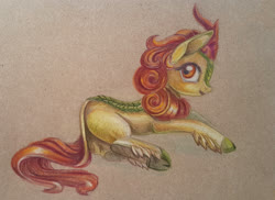 Size: 1000x726 | Tagged: safe, artist:maytee, autumn blaze, kirin, colored pencil drawing, solo, traditional art