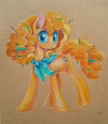 Size: 900x1034 | Tagged: safe, artist:maytee, pear butter, earth pony, pony, colored pencil drawing, female, leaves in hair, looking at you, mare, neckerchief, smiling, solo, traditional art