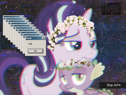 Size: 1125x844 | Tagged: safe, edit, edited screencap, screencap, spike, starlight glimmer, dragon, pony, unicorn, cakes for the memories, spoiler:cakes for the memories, spoiler:mlp friendship is forever, chromatic aberration, cropped, duo, floral head wreath, flower, vaporwave, winged spike