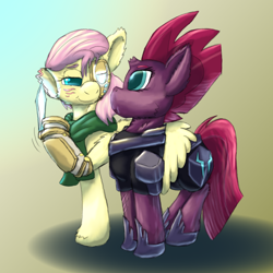 Size: 1584x1584 | Tagged: safe, artist:firefanatic, fluttershy, tempest shadow, alternate hairstyle, amputee, armor, augmented, broken horn, clothes, cybernetic eyes, glowing, glowing eyes, horn, hug, implied threat, knife, nervous, prosthetics, scarf, scrunchy face, smiling, smug, story included, veiled threat, winghug