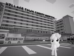 Size: 2048x1536 | Tagged: safe, artist:topsangtheman, linky, shoeshine, earth pony, pony, 3d, bus, cadillac, grayscale, hospital, looking at you, minecraft, monochrome, source filmmaker